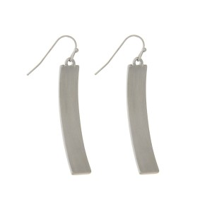 "Silver tone fishhook earrings with a brushed curved bar. Approximately 2"" in length."