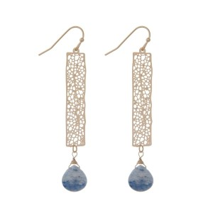 "Gold tone fishhook earrings with a filigree bar and navy blue teardrop bead. Approximately 2.5"" in length."
