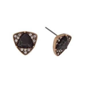 """Gold tone stud earrings with a triangle black stone surrounded by clear rhinestones. Approximately 1/2"""" in length."""