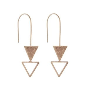 "Gold tone fishhook earrings with an open and closed arrow. Approximately 2"" in length."