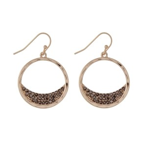 """Burnished gold tone fishhook earrings with hematite rhinestones. Approximately 1"""" in length."""