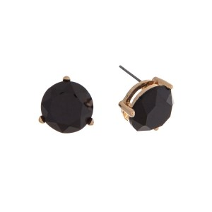 "Gold tone post earrings with a round faceted black stone. Approximately 1/2"" in length."