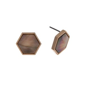 "Gold tone hexagon stud earrings with abalone. Approximately 1/2"" in length."