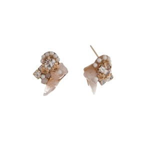"Gold tone post earrings with ivory and white stones and clear rhinestone accents. Approximately 1/2"" in length."