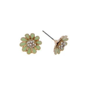 """Dainty gold tone stud earrings featuring a lime green flower accented with clear rhinestones. Approximately 1/2"""" in length."""