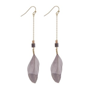 "Gold tone fishhook earrings with a gray feather, accented with a pink and a gray bead. Approximately 3"" in length."