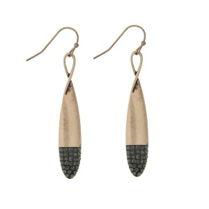 "Burnished gold tone fishhook earrings with black pave rhinestones. Approximately 2"" in length."