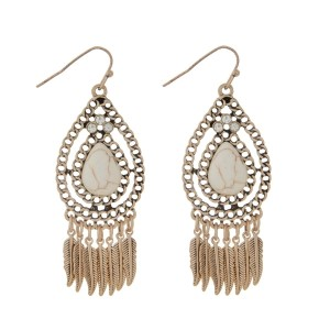 "Burnished gold tone earrings featuring a teardrop with ivory stone and feather fringe. Approximately 2"" in length."