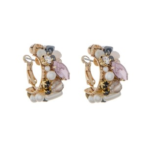 """Gold tone lever back hoop earrings with pearls, rhinestones and pink stones. Approximately 1"""" in length."""