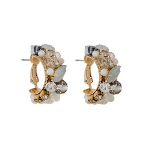 """Gold tone lever back hoop earrings with pearls, rhinestones and white opal stones. Approximately 1"""" in length."""