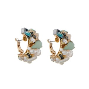 "Gold tone lever back hoop earrings with pearls, rhinestones and aqua stones. Approximately 1"" in length."