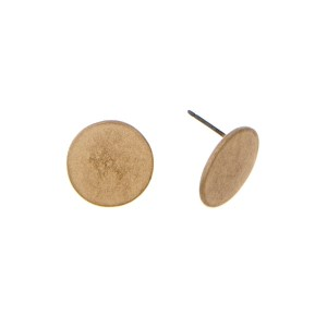 "Burnished gold tone circle stud earrings. Approximately 1/2"" in length."