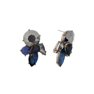 "Gold tone stud earrings with black and blue rhinestones. Approximately 1.5"" in length."
