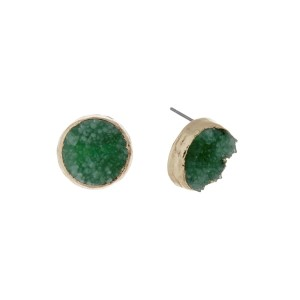 "Gold tone stud earrings featuring a round green druzy stone. Approximately 1/2"" in length."
