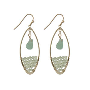 "Gold tone fishhook earrings with pale green beads. Approximately 2"" in length."
