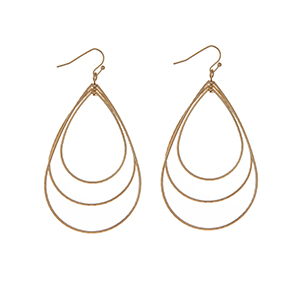 "Gold tone fishhook earrings with an ascending open teardrop shape. Approximately 3"" in length."