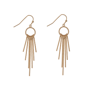 "Gold tone fishhook earrings with metal fringe. Approximately 2"" in length."