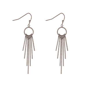"Silver tone fishhook earrings with metal fringe. Approximately 2"" in length."