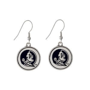 "Officially licensed Florida State University silver tone fishhook earrings with a circle logo. Approximately 2"" in length."