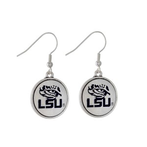 "Officially licensed LSU silver tone fishhook earrings with a circle logo. Approximately 2"" in length."