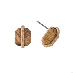 "Dainty gold tone stud earrings with a picture jasper stone. Approximately 1/2"" in length."