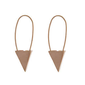 "Matte gold tone hook earrings with a triangle. Approximately 1.5"" in length."