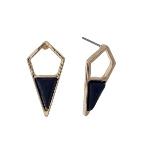 "Gold tone geometric stud earrings with a black stone. Approximately 1"" in length."