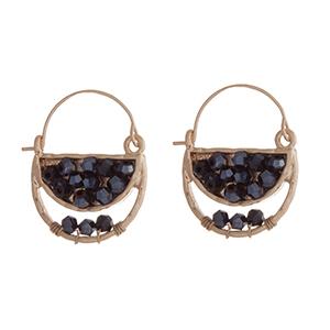 "Gold tone hematite beaded hook earrings. Approximate;y 1"" in length."