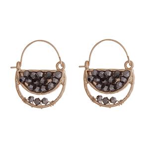 "Gold tone gray beaded hook earrings. Approximate;y 1"" in length."