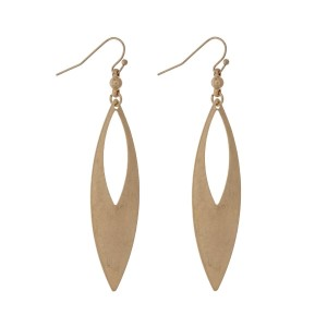 "Gold tone fishhook earrings with a cutout teardrop. Approximately 3"" in length."