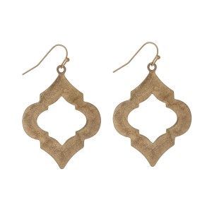 "Gold tone fishhook earrings with a quatrefoil shape. Approximately 1.5"" in length."