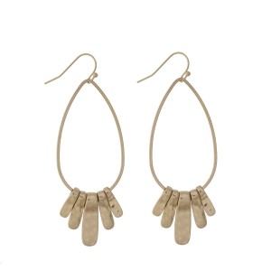 "Gold tone fishhook earrings with a teardrop shape and metal fringe detail. Approximately 2.5"" in length."