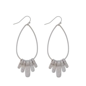 "Silver tone fishhook earrings with a teardrop shape and metal fringe detail. Approximately 2.5"" in length."