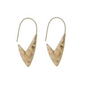 "Gold tone hook earrings with a hammered arrow shape. Approximately 1.5"" in length."