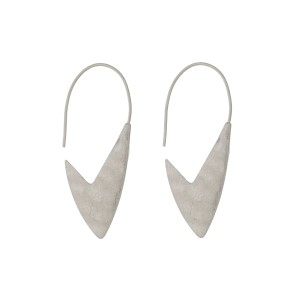 "Silver tone hook earrings with a hammered arrow shape. Approximately 1.5"" in length."