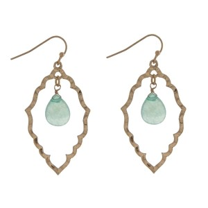 "Gold tone open geometric shape fishhook earrings with a mint teardrop stone. Approximately 2.5"" in length."