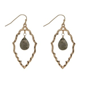 "Gold tone open geometric shape fishhook earrings with a gray teardrop stone. Approximately 2.5"" in length."