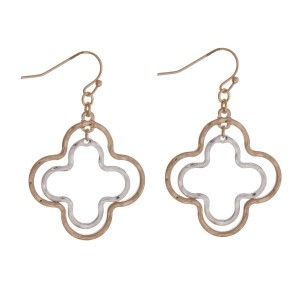 "Gold tone fishhook earrings with a two tone quatrefoil shape. Approximately 1.5"" in length."