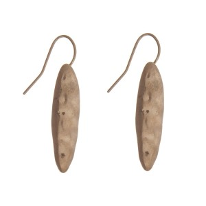 "Hammered gold tone earrings with an oval shape. Approximately 1"" in length."