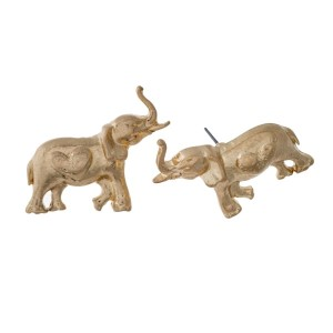 """Gold tone statement post style earrings with a hammered elephant. Approximately 2"""" in length."""
