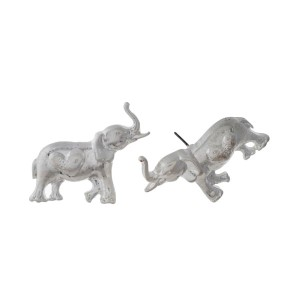 "Silver tone statement post style earrings with a hammered elephant. Approximately 2"" in length."