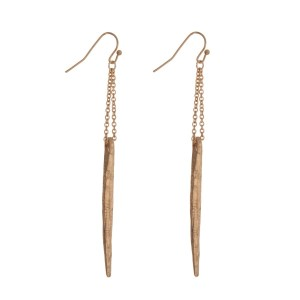 "Gold tone fishhook earrings with a hammered spike. Approximately 4"" in length."