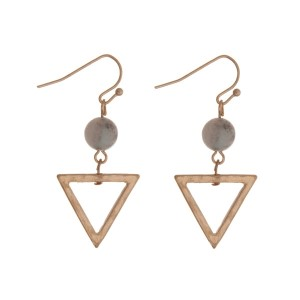 """Gold tone fishhook earrings with a triangle shape and a mint bead. Approximately 1.25"""" in length."""