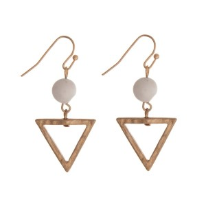 """Gold tone fishhook earrings with a triangle shape and an ivory bead. Approximately 1.25"""" in length."""