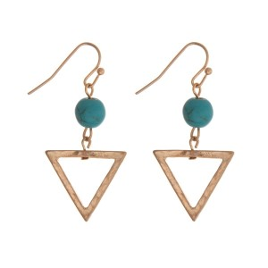 """Gold tone fishhook earrings with a triangle shape and a turquoise bead. Approximately 1.25"""" in length."""