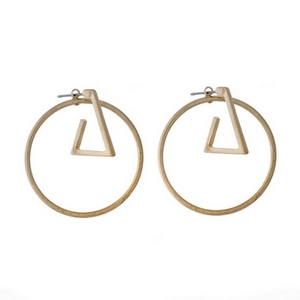 "Gold tone post style earrings with a geometric circle and triangle. Approximately 1.5"" in length."