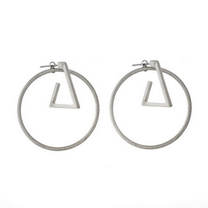"Silver tone post style earrings with a geometric circle and triangle. Approximately 1.5"" in length."