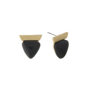 """Matte gold tone stud earrings with a black triangle stone. Approximately 3/4"""" in length."""