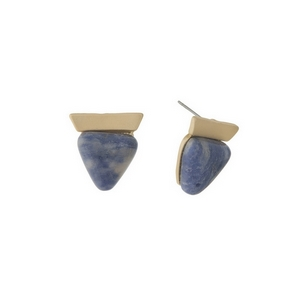 "Matte gold tone stud earrings with a sodalite triangle stone. Approximately 3/4"" in length."