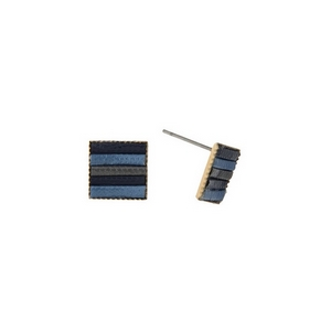 "Dainty gold tone stud earrings in the shape of a square with navy, royal and gray stripes. Approximately 1/2"" in length."